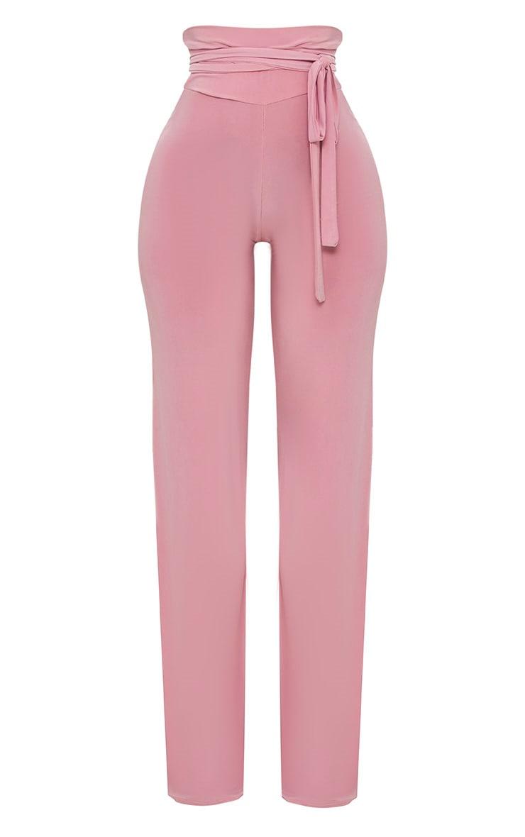 Shape - Pantalon moulant à jambes évasées et taille trés haute détail ceinture rose 3