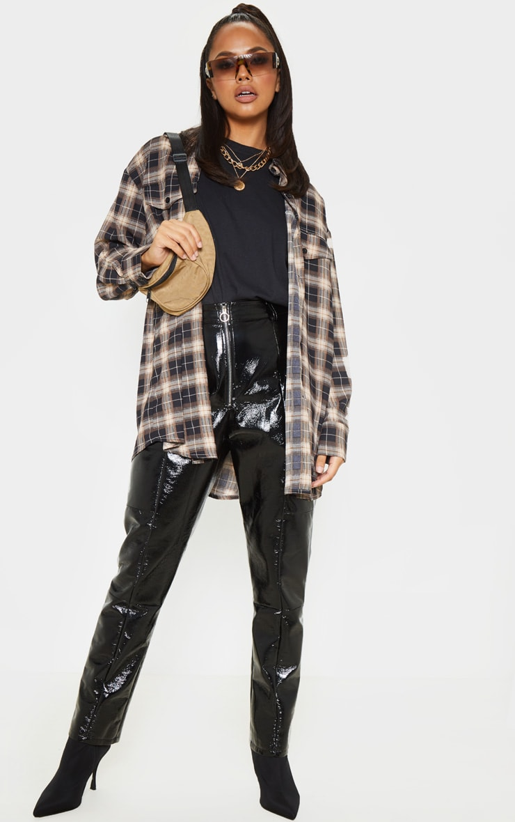 Chocolate Checked Pocket Detail Oversized Shirt 4