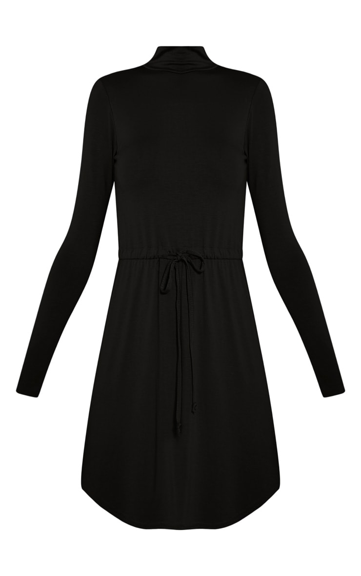 Dorathea Black Tie Waist Long Sleeve Jersey Dress 3