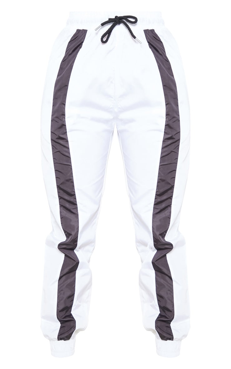 White Contrast Front Panel Shell Jogger 3