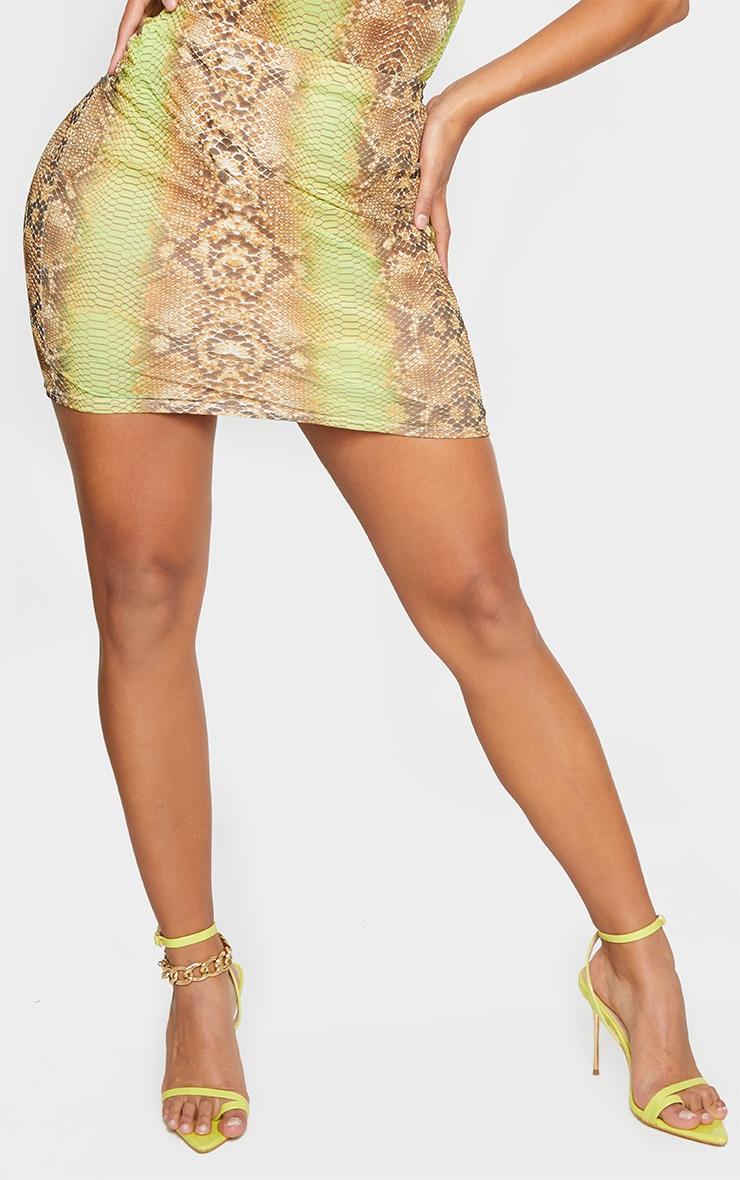 Shape Lime Snake Print Mesh Bodycon Skirt 2