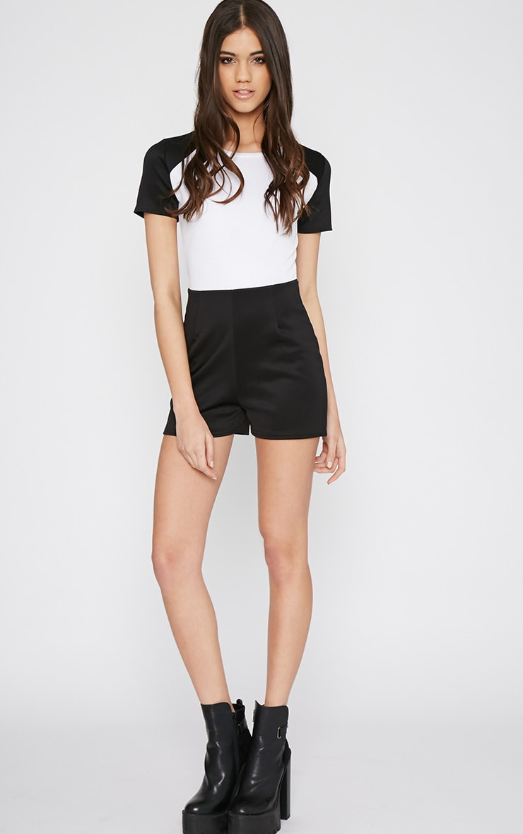 Sandra Black Colour Block Playsuit  3