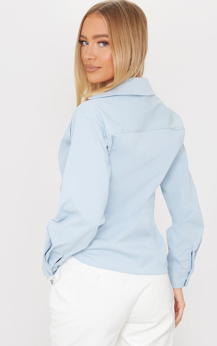 Pastel Blue Woven Ruched Tie Front Plunge Shirt 2