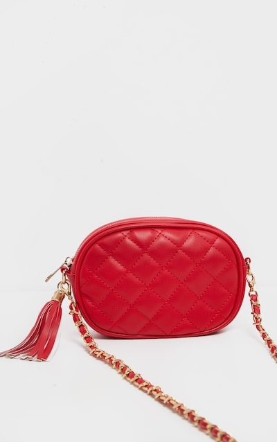 Red Quilted Circle Cross Body Bag