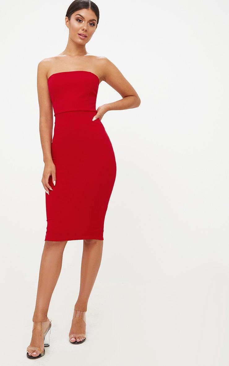 Red Bandeau Split Back Midi Dress 1