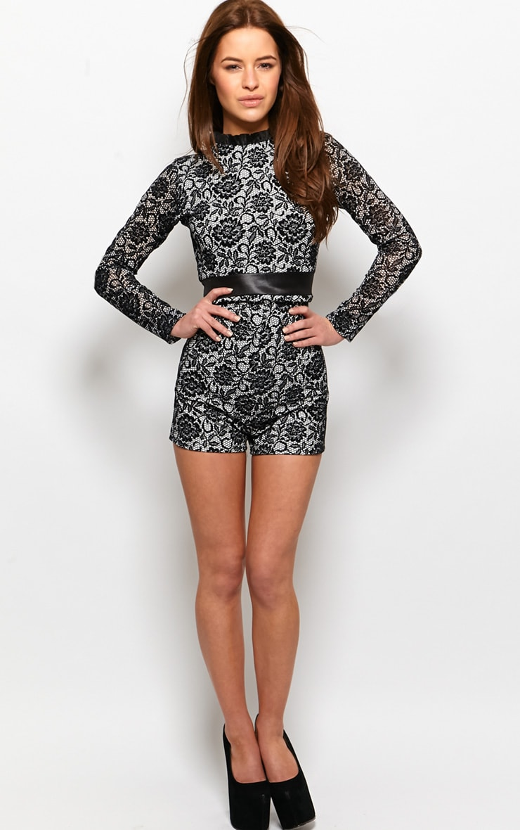 Francie Black Lace Print Playsuit 4