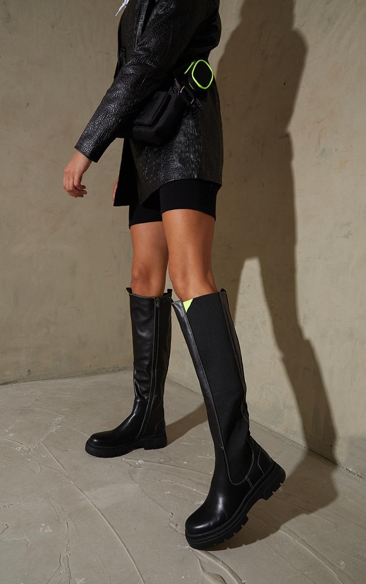 Black Knee High Chelsea Contrast Stitch Biker Boots 1