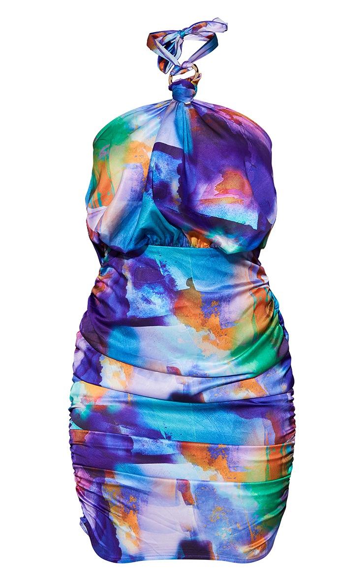 Multi Abstract Print Satin Ring Detail Halterneck Bodycon Dress 5