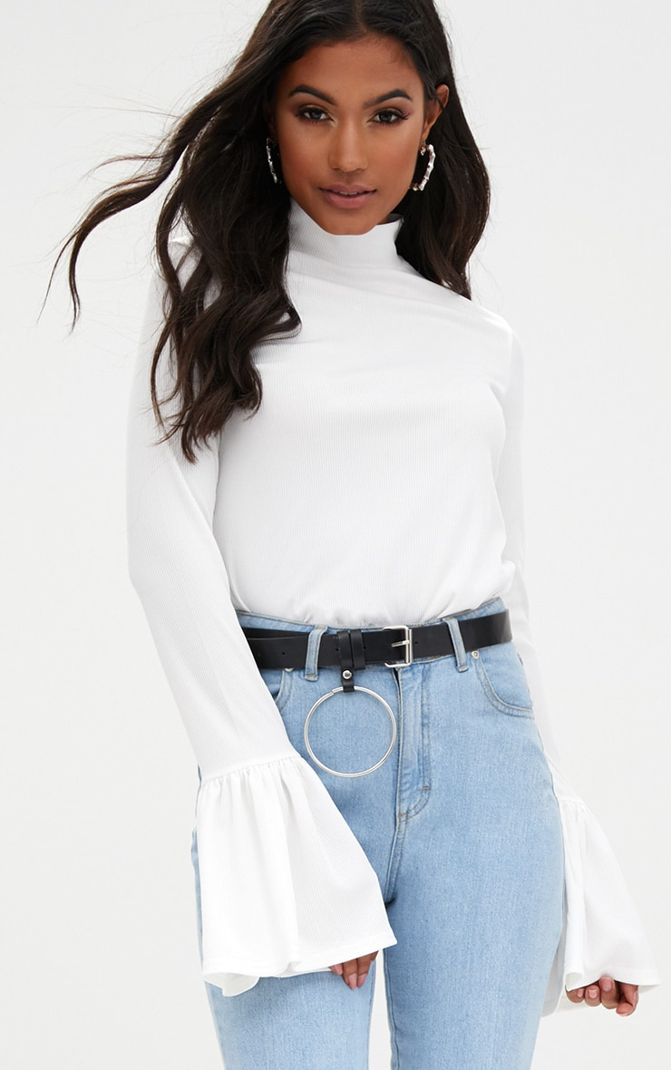 Cream Frill Cuff Long Sleeve Ribbed Top  1
