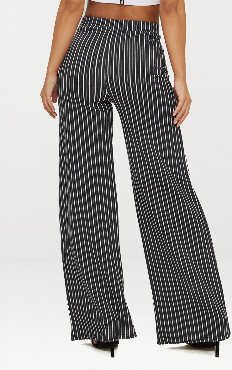 Petite pantalon ample noir à fines rayures  3