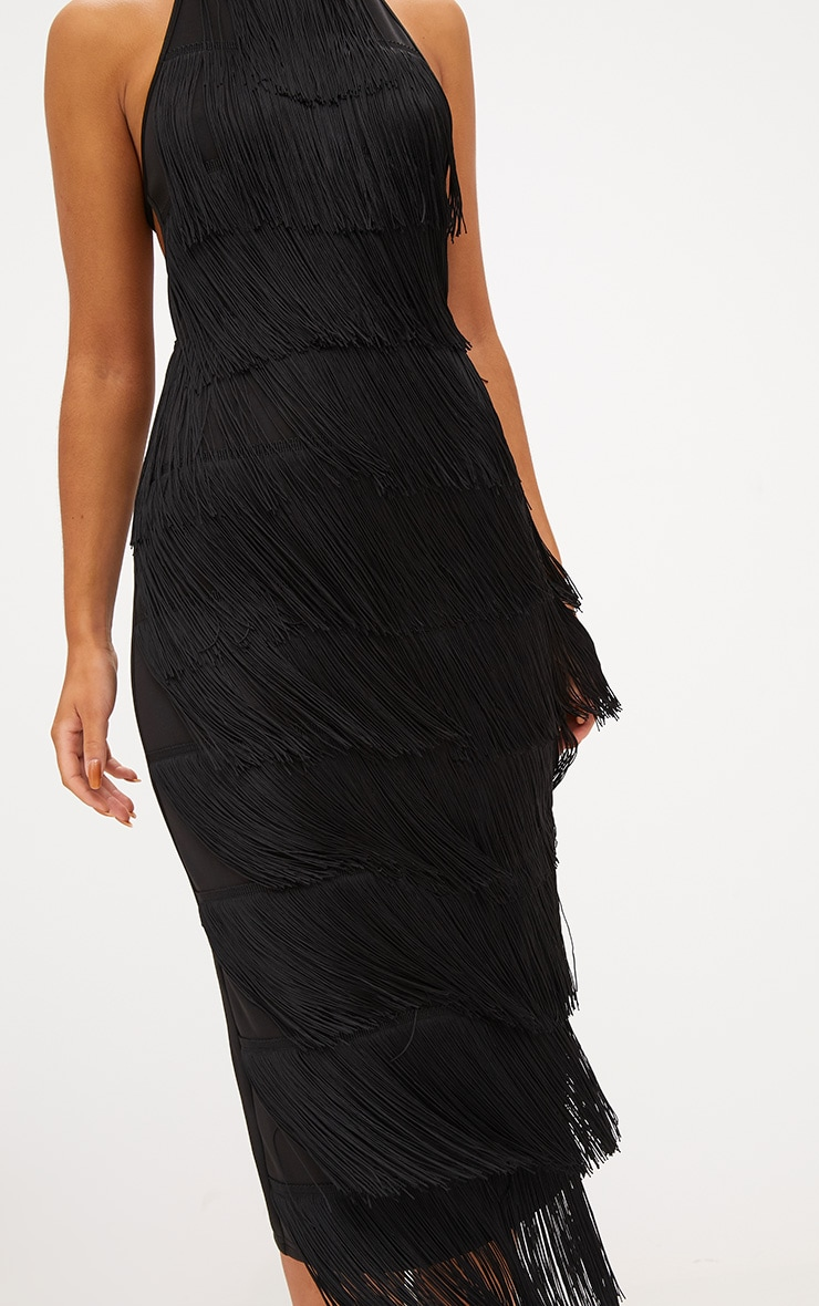 Black Tassel Halterneck Midi Dress 5