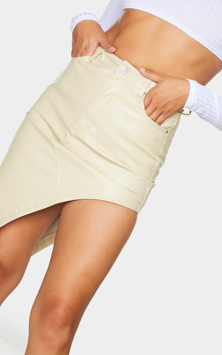 Cream Faux Leather Asymmetric Midi Skirt 4