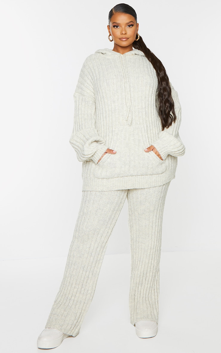 Plus Oatmeal Ribbed Chunky Knit Oversized Hoodie 1