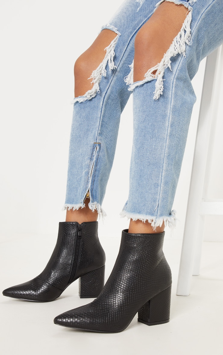 Black Low Block Heel Point Ankle Boot 1