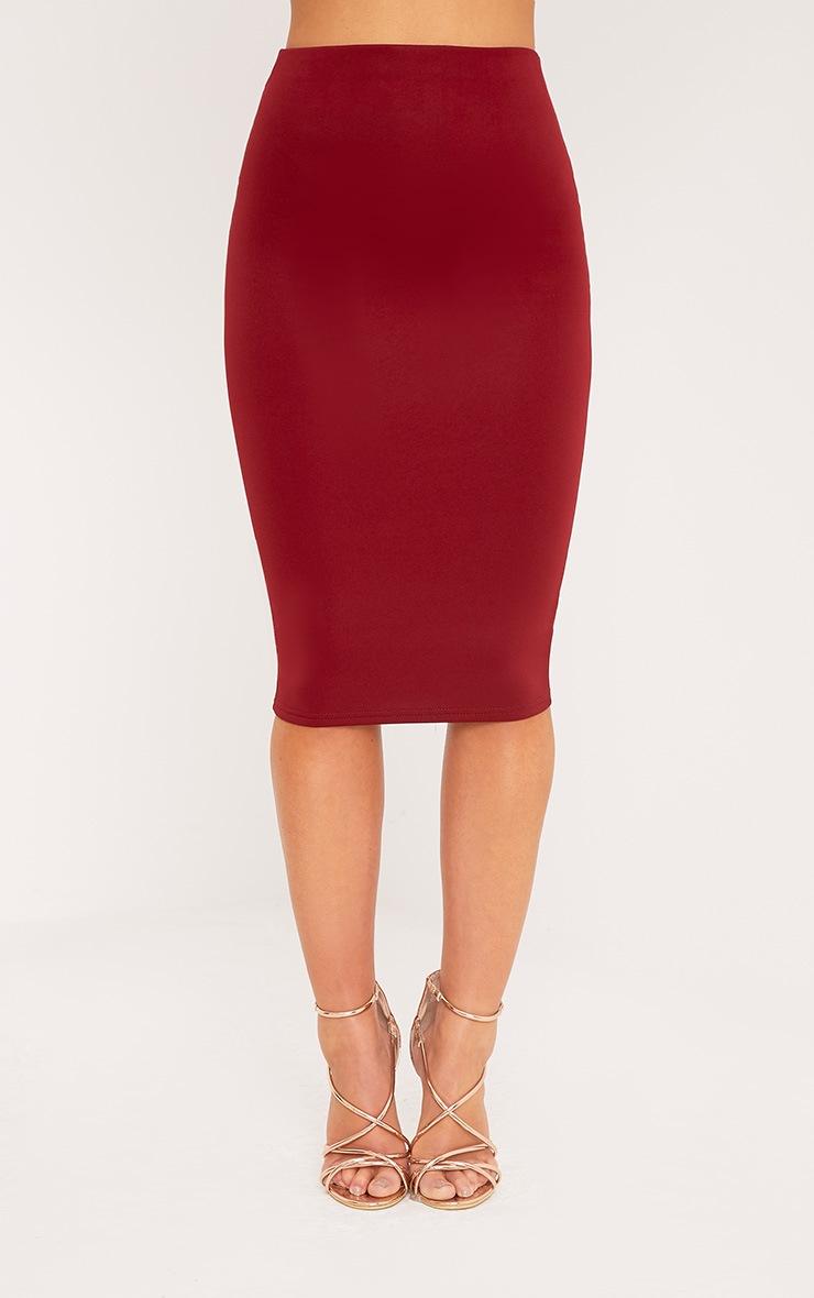 Petite Winnie Burgundy Scuba Midi Skirt 2