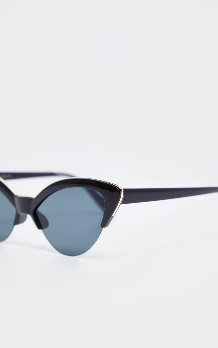 Black Frame Gold Metal Edge Pointed Cat Eye Sunglasses 4