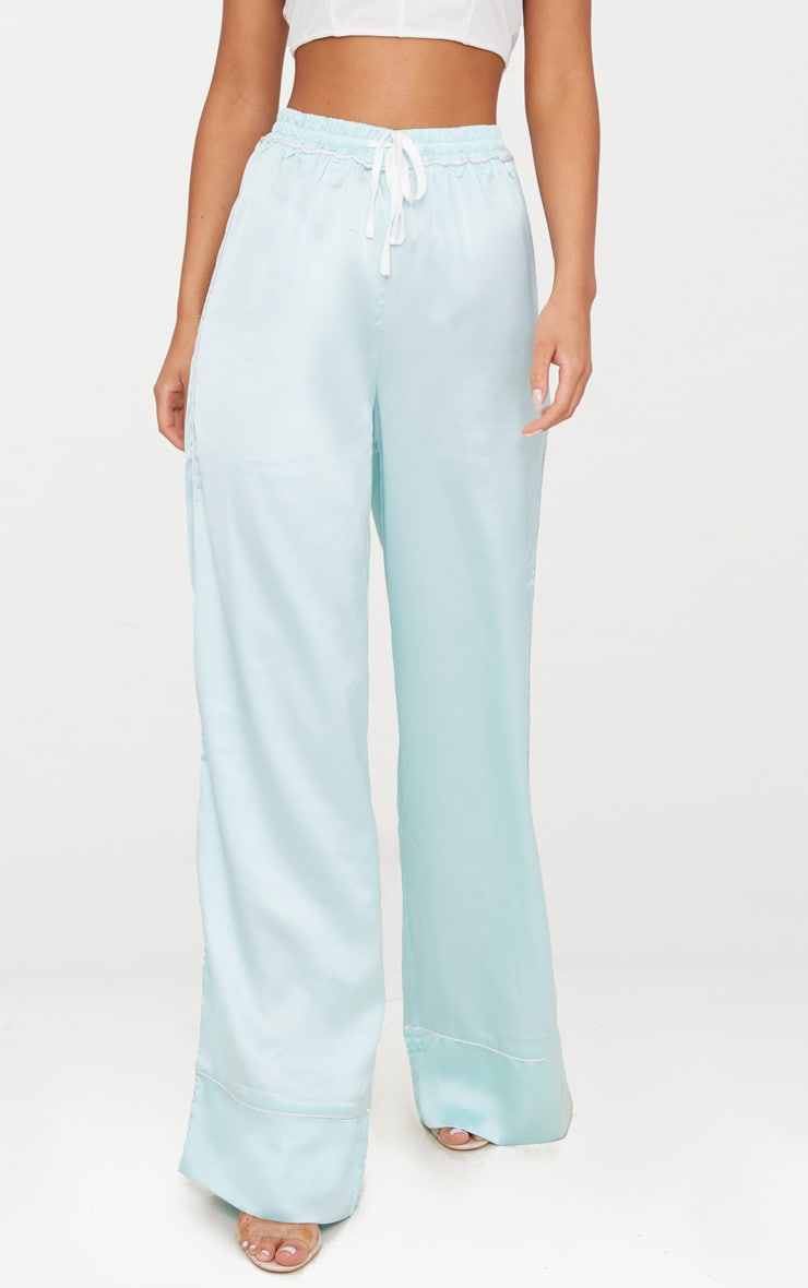 Mint Contrast Binding Satin Trousers 2