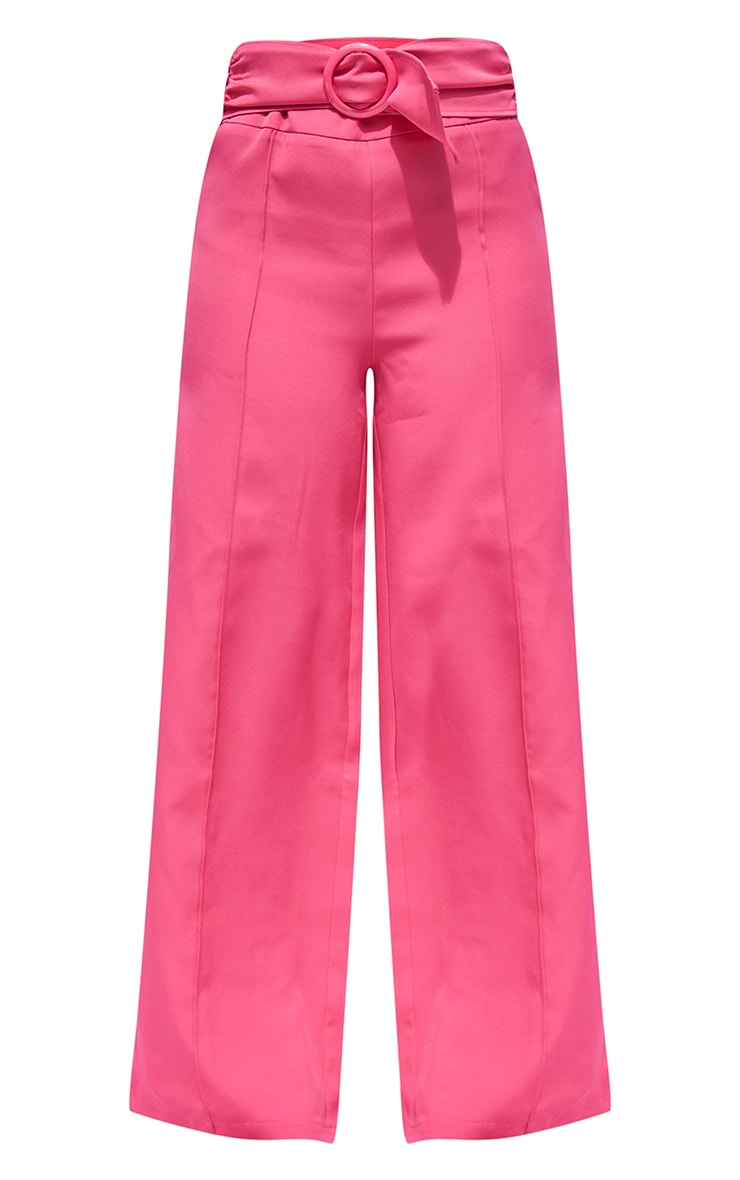 Petite Hot Pink Belted High Waisted Trousers 5