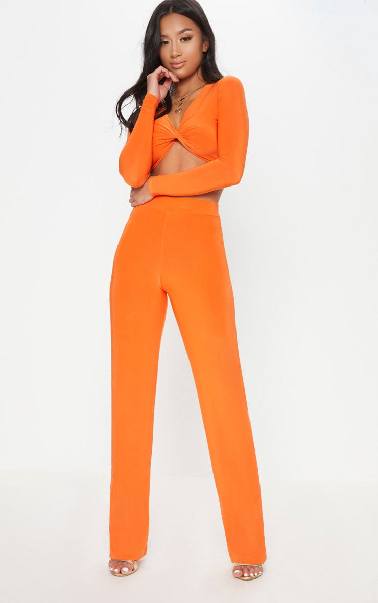 Petite Orange Slinky Wide Leg Trousers 1