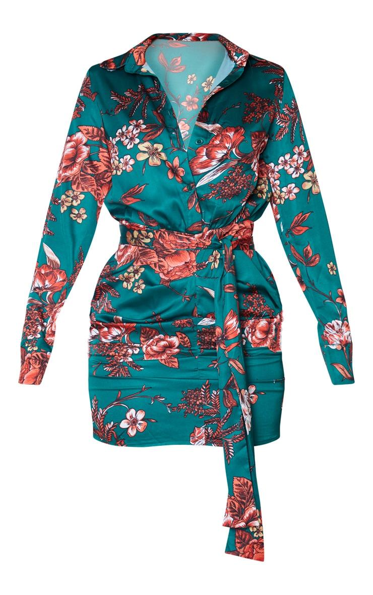 Robe chemise froncée satinée vert émeraude imprimé floral 3