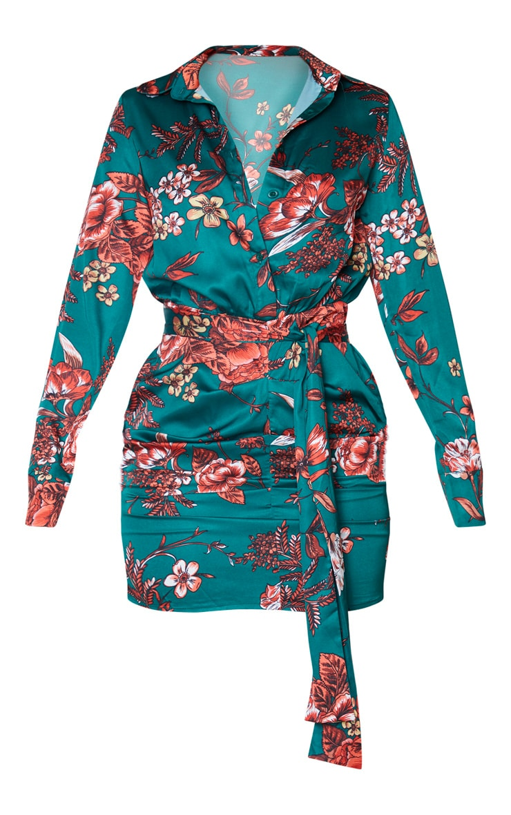 Emerald Green Floral Print Satin Ruched Shirt Dress 3
