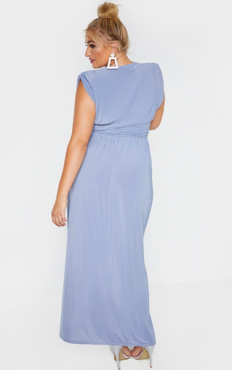 Plus Dusty Blue Ruched Plunge Maxi Dress 2