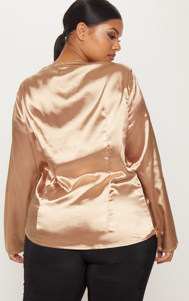 Plus Mocha Satin Twist Front Long Sleeve Blouse 2