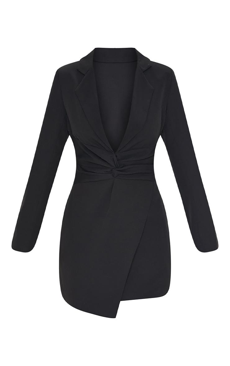 Robe blazer moulante en maille tissée noire à partie torsadée 5