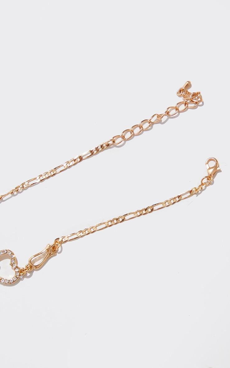 Gold Diamante Heart Anklet 3
