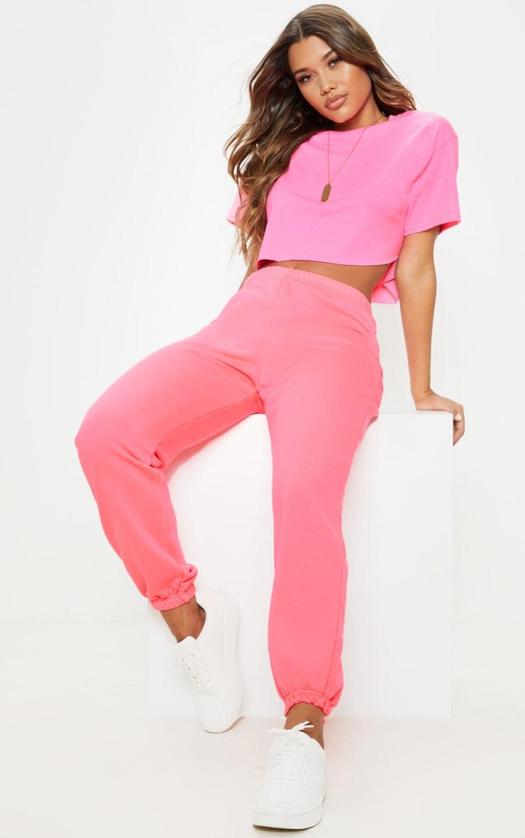 Neon Pink Basic Cuffed Hem Jogger 1