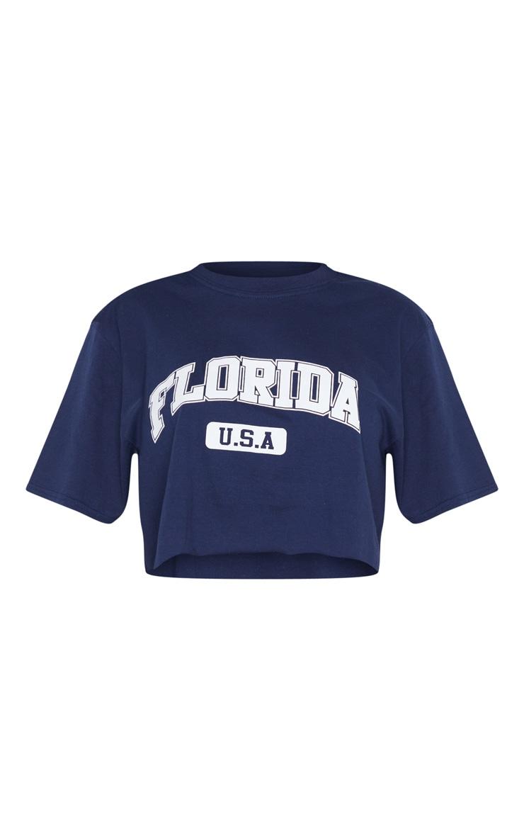 Navy Florida USA Crop T Shirt 5
