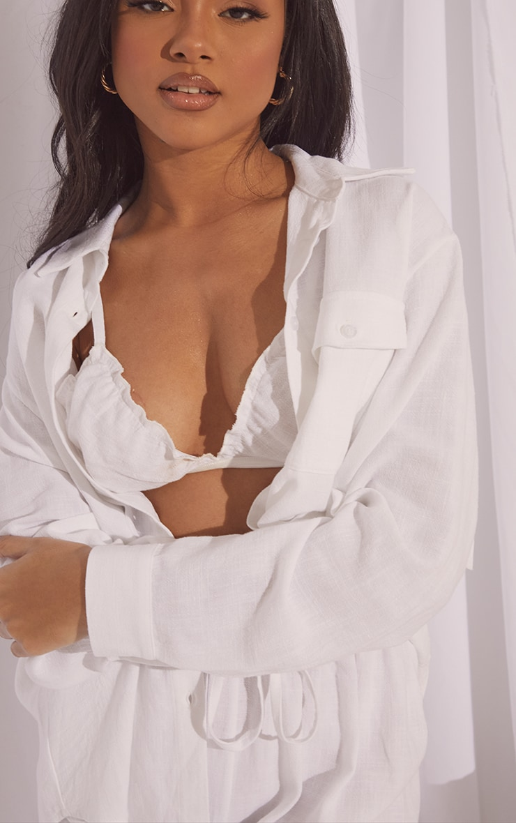 White Oversized Long Sleeve Shirt With Pocket And Wide Leg Pants PJ Set 4