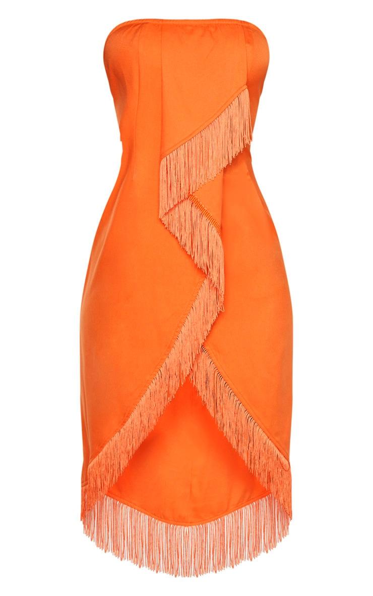 Orange Bandeau Tassel Front Midi Dress 3