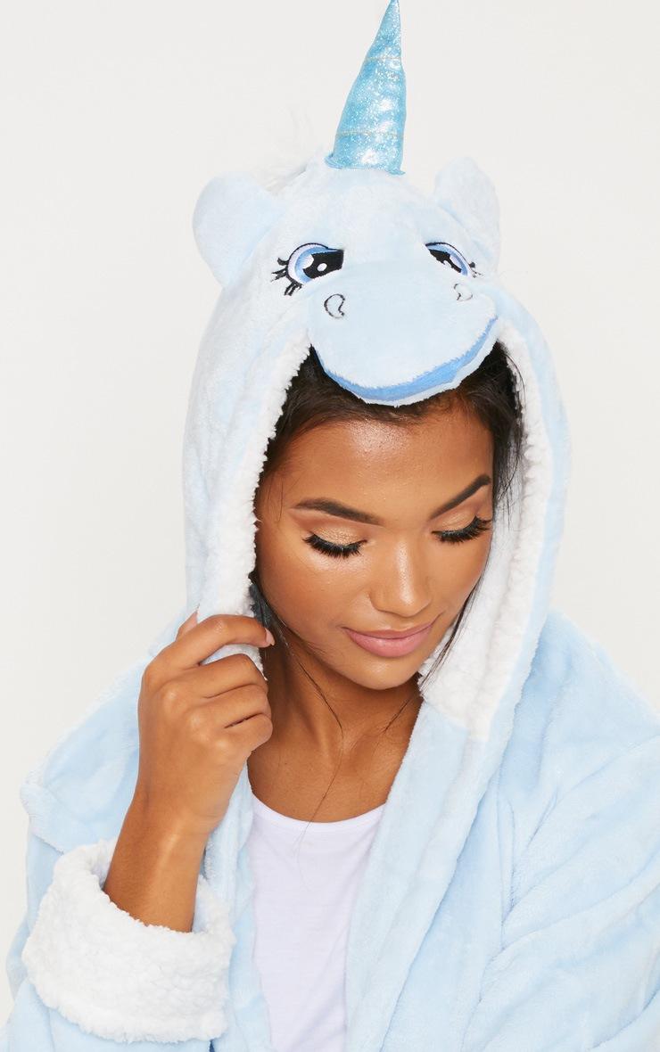 Pale Blue Unicorn 3D Hooded Robe 4