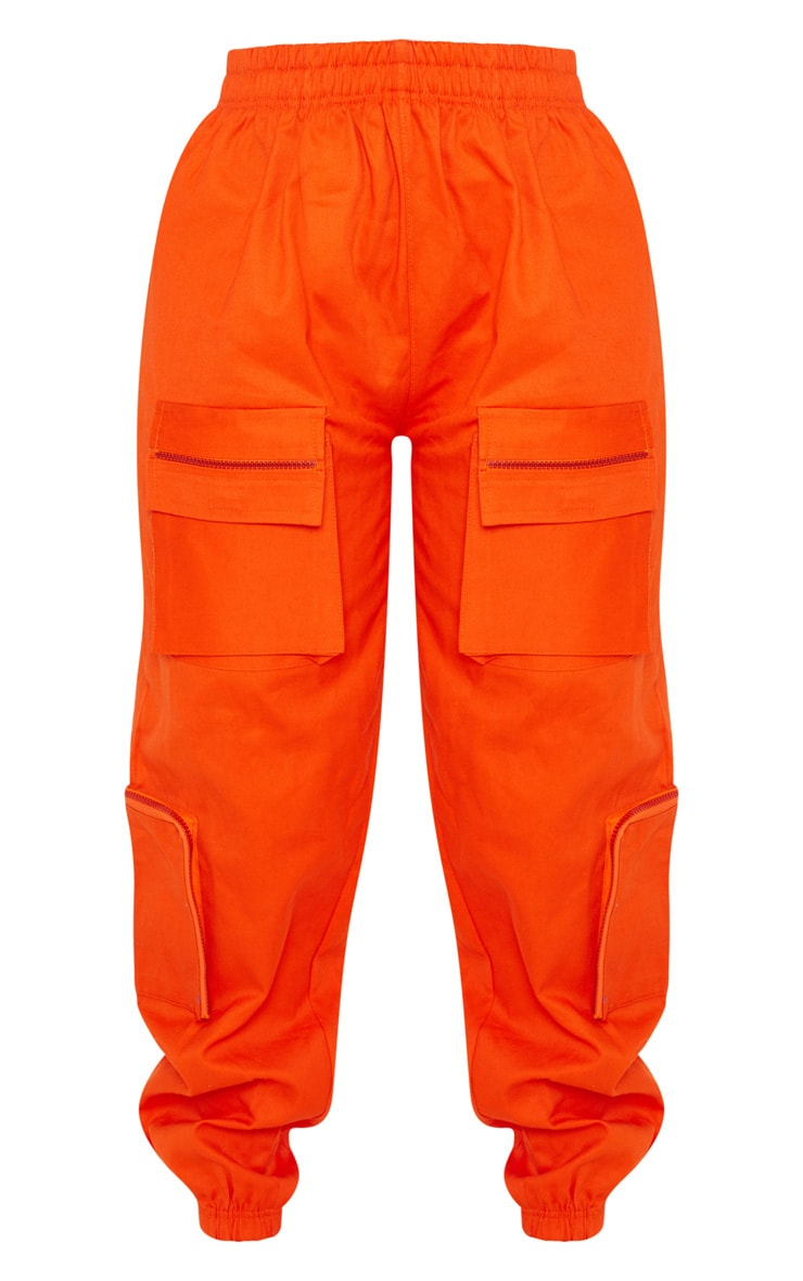 Neon Orange 3D Pocket Cargo Pants 3