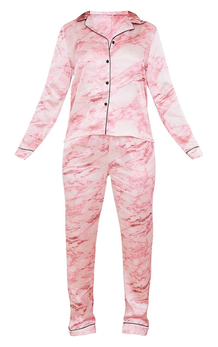 Pink Marble Satin Long PJ Set 5