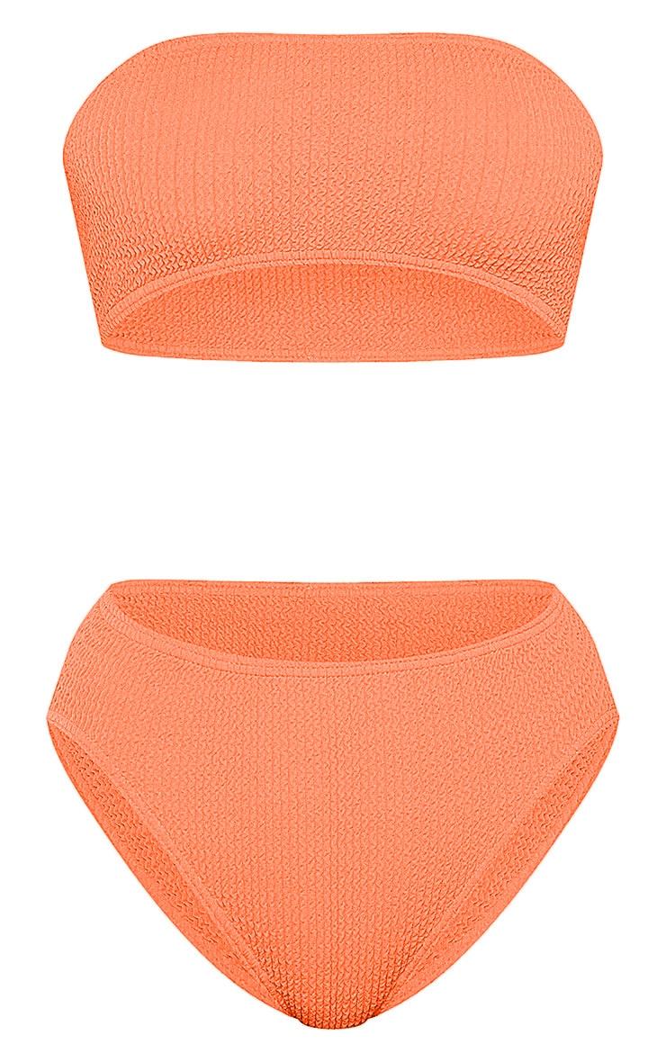 Coral Crinkle Bandeau Bikini Top 6