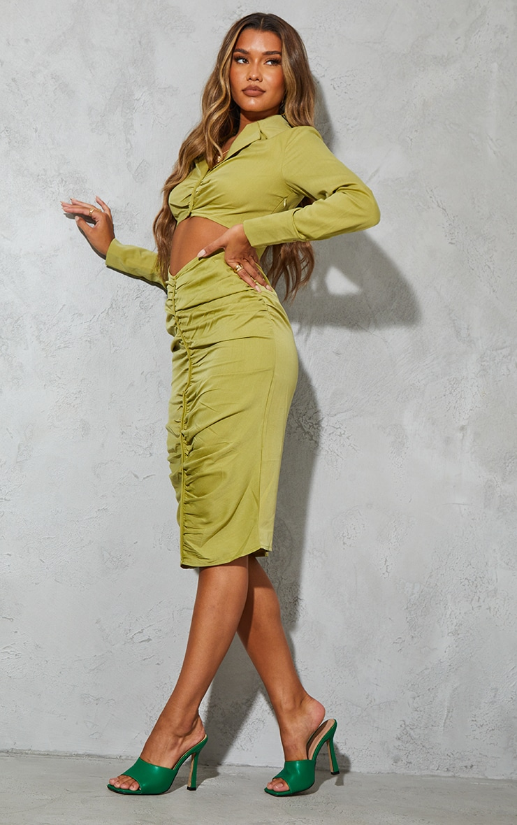 Olive Woven Ruched Cut Out Detail Shirt Style Midi Dress 1