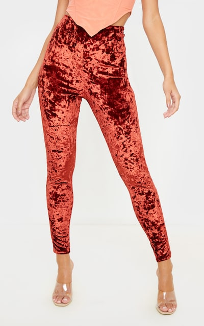 Burnt Orange Velvet Ruched Bum Legging