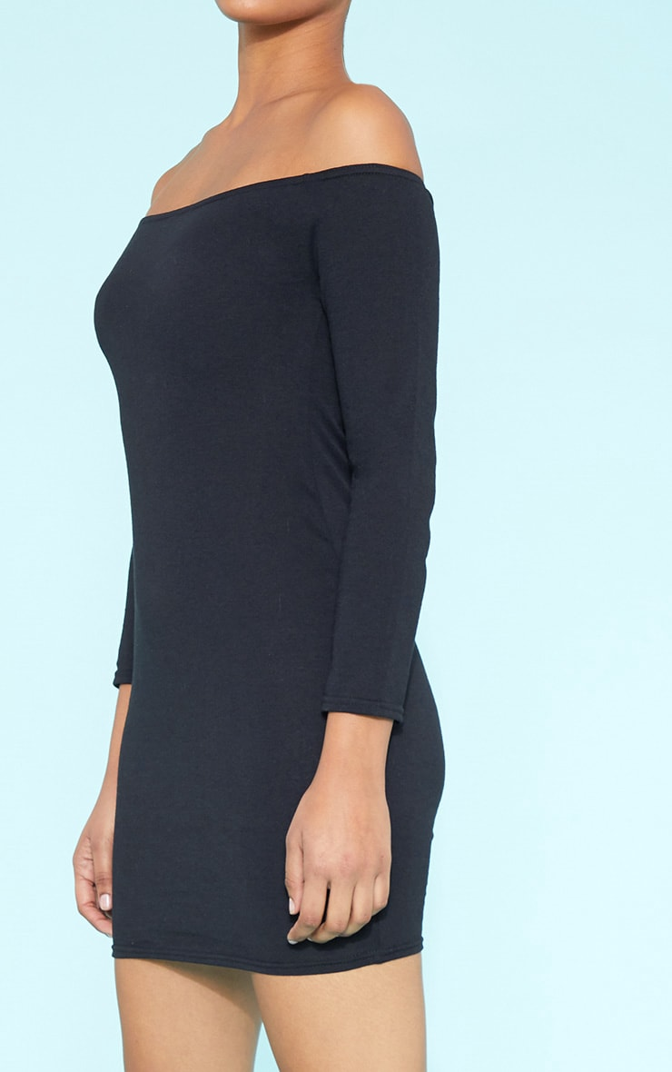 RECYCLED Bardot Bodycon Dress Black 7