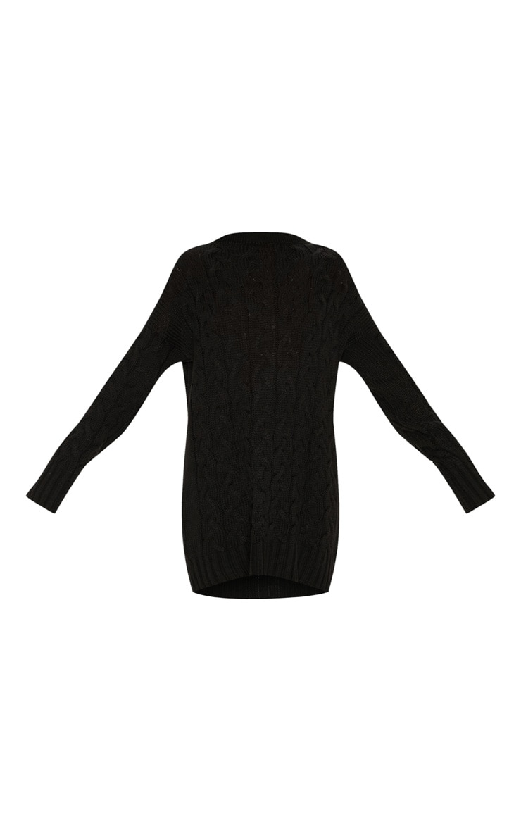 Black Cable Detail Knitted Jumper Dress  3