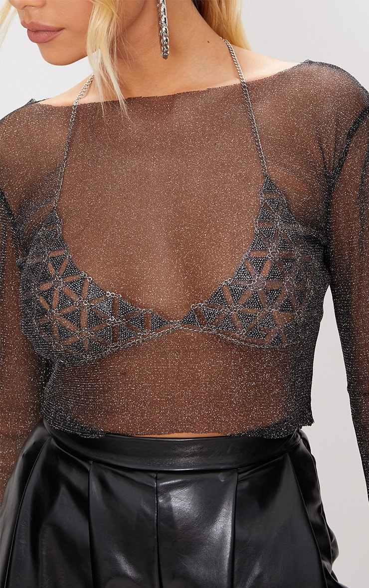 Black Sheer Lurex Long Sleeve Top 5