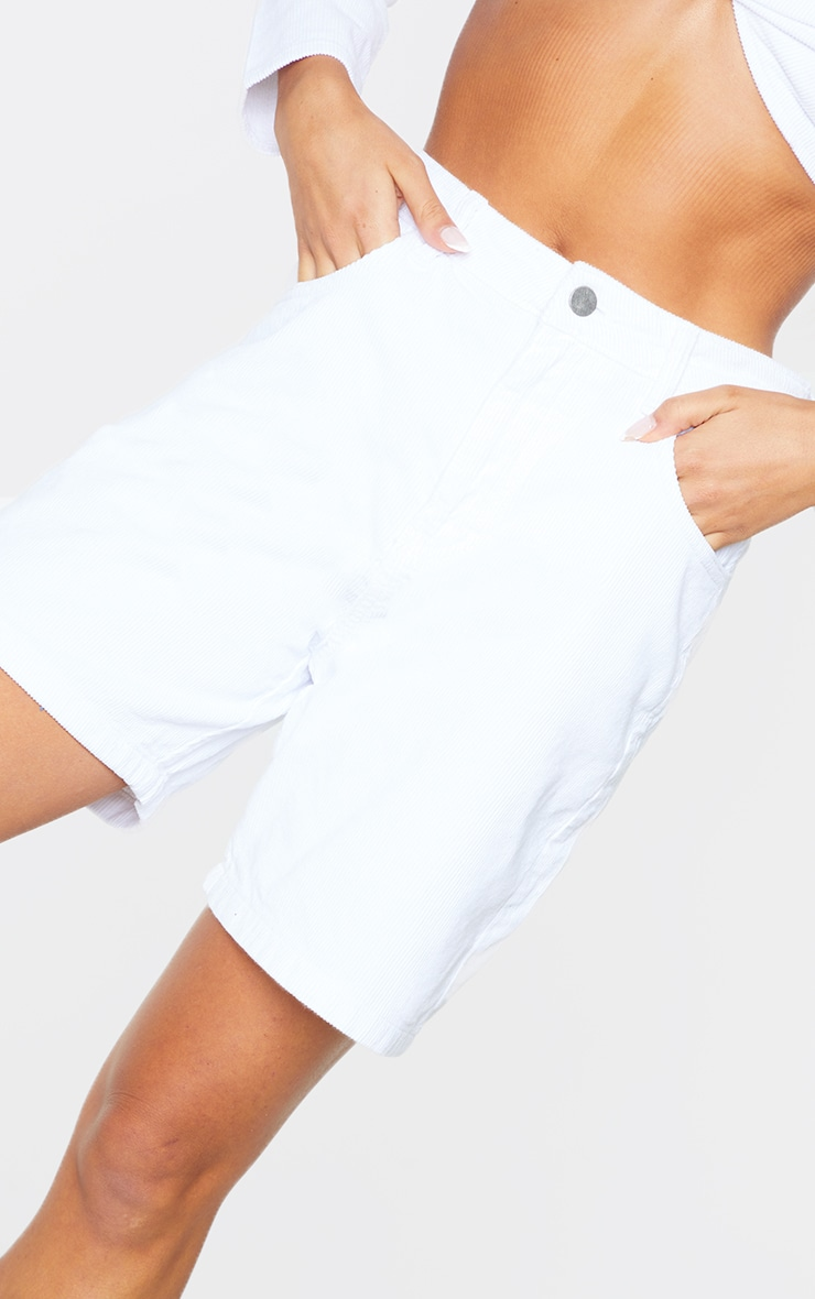 White Cord Boyfriend Shorts 5
