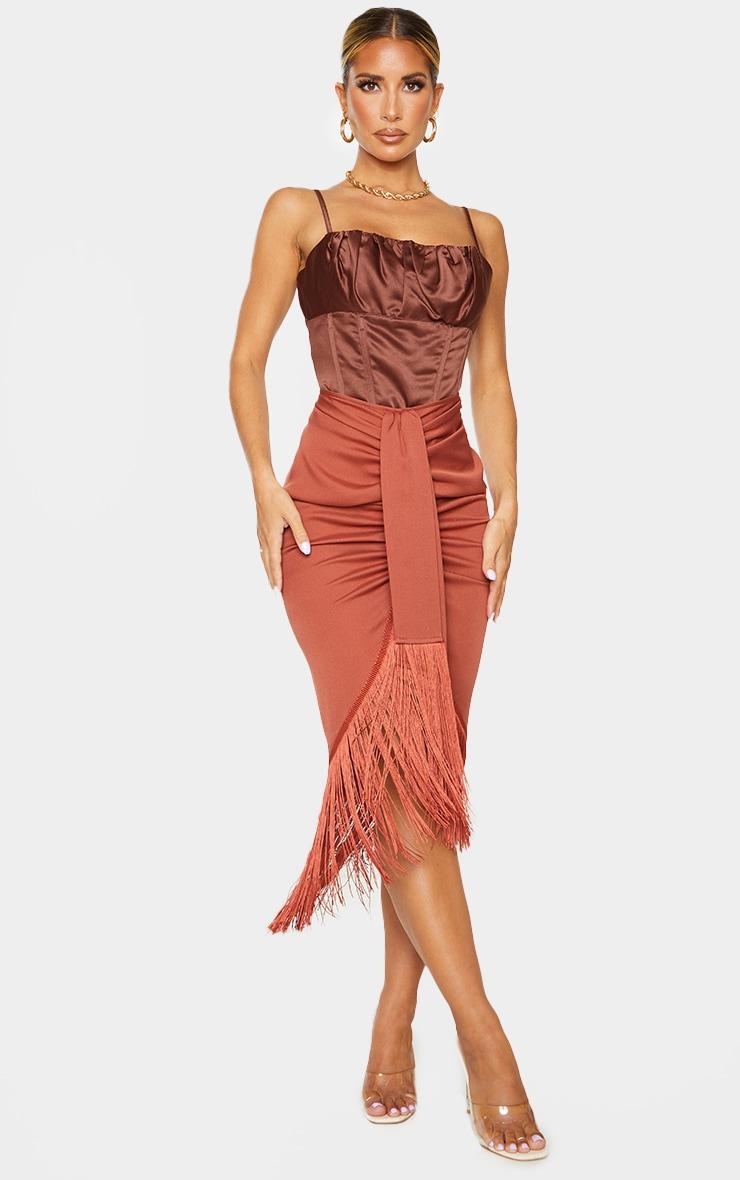 Rust Tassel Hem Midi Skirt