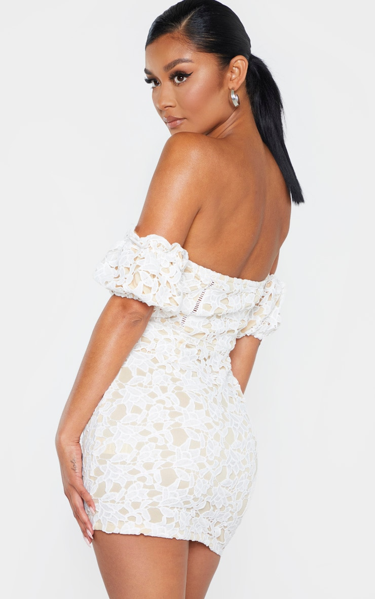 White Embroidered Lace Puff Sleeve Hook & Eye Bodycon Dress 2