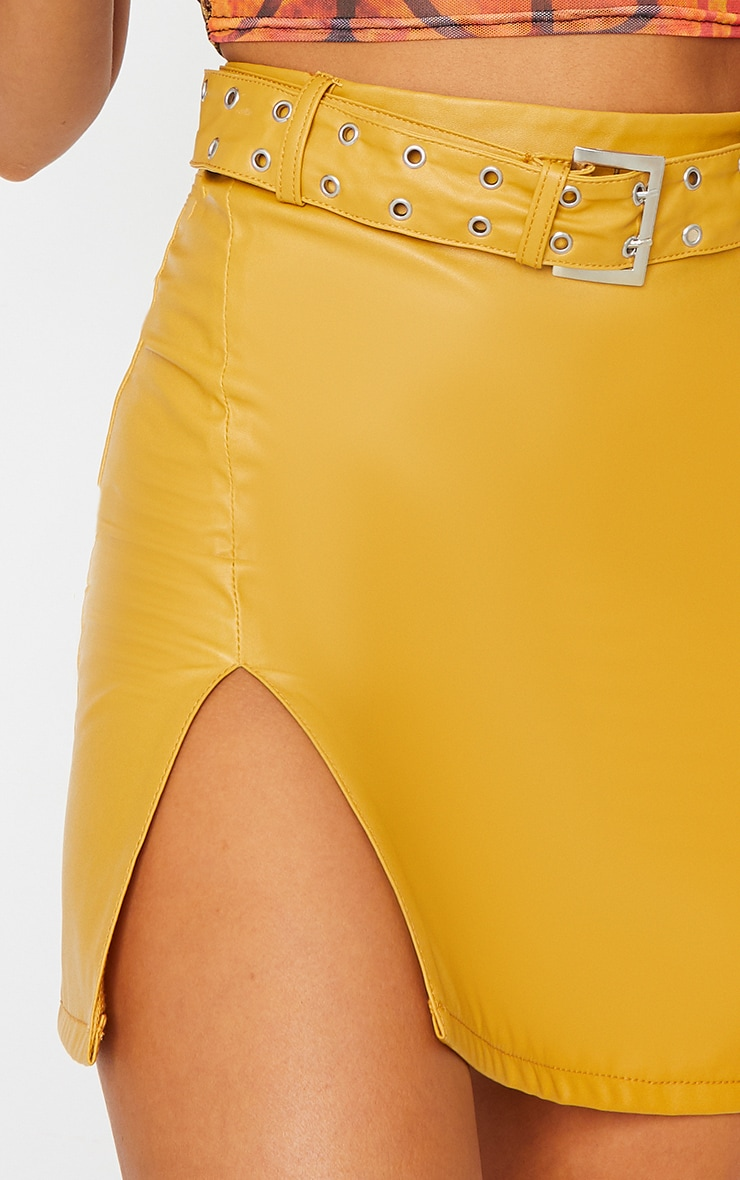 Mustard Faux Leather Belted Mini Skirt 5