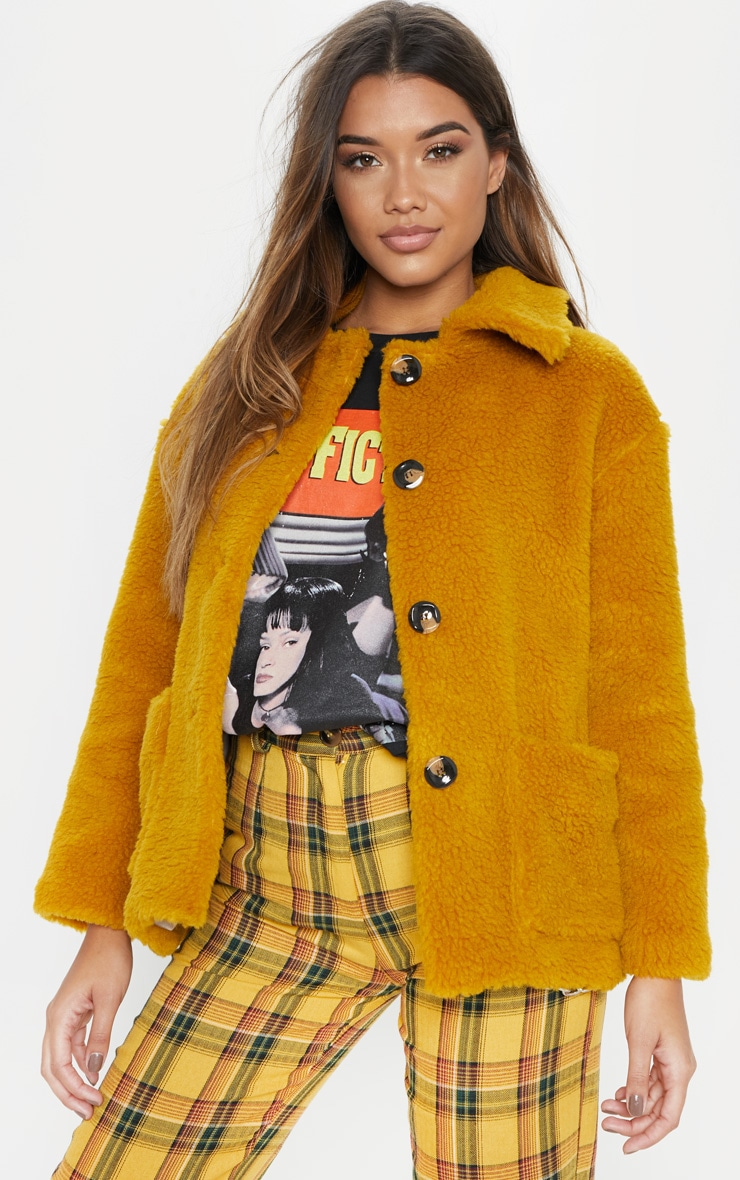 Mustard Cropped Borg Jacket