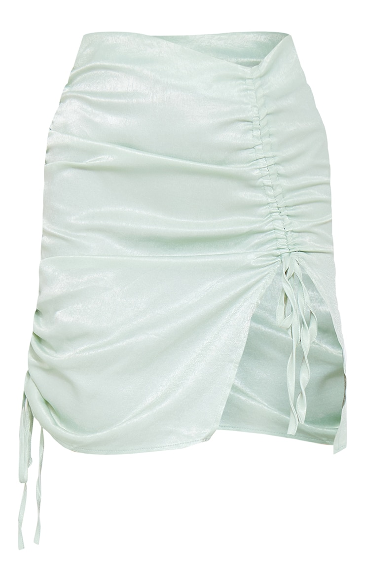Mint Green Satin Double Ruched Front Mini Skirt 6