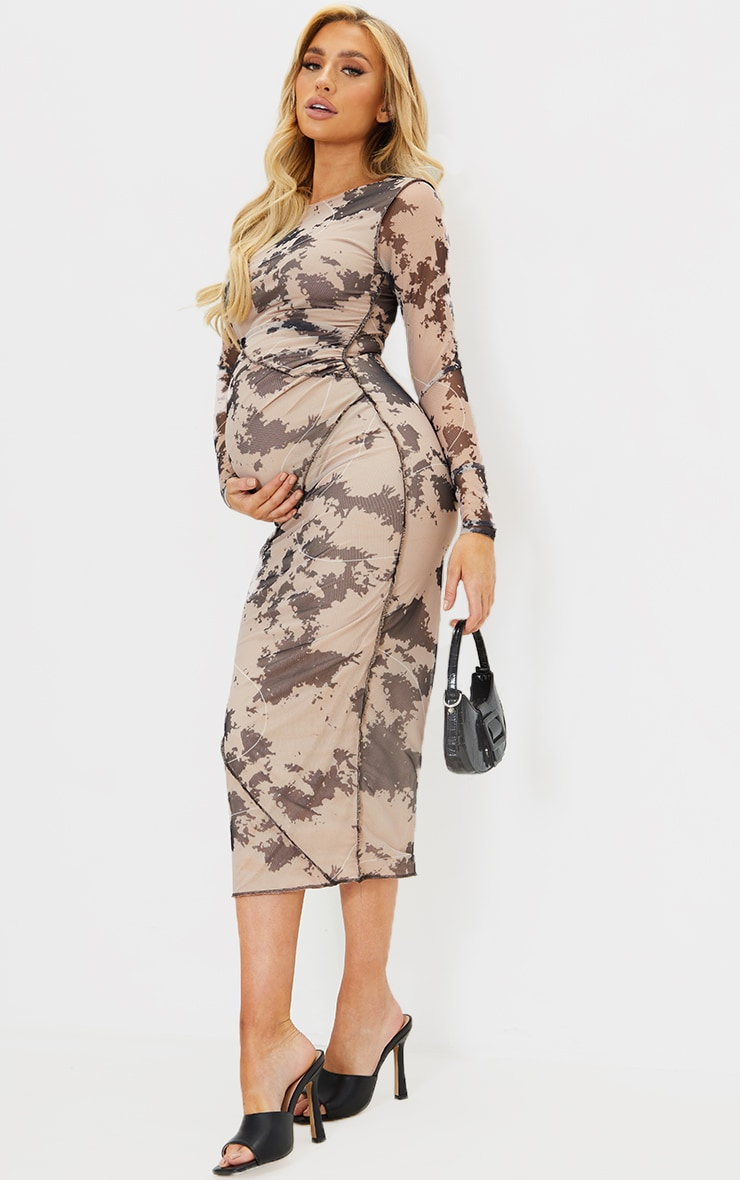 Maternity Nude Contrast Overlocking Mesh Midi Dress 1
