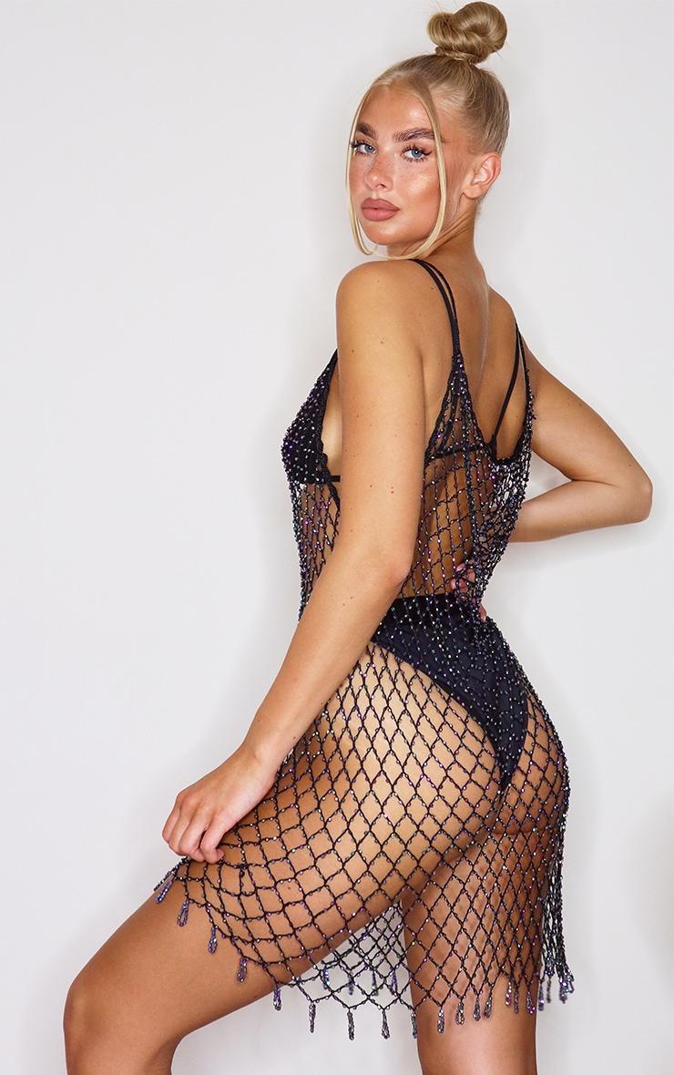Black Iridescent Beaded Crochet Dress 2